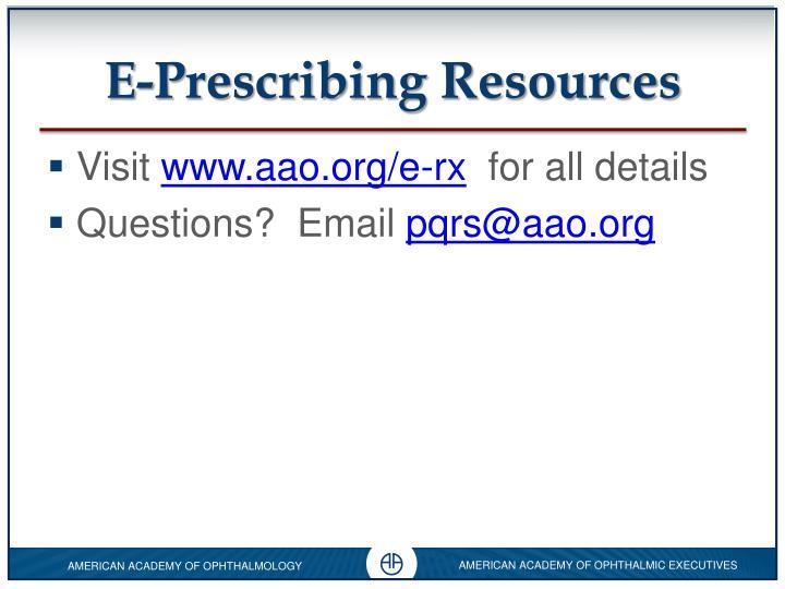 E-Prescribing Resources