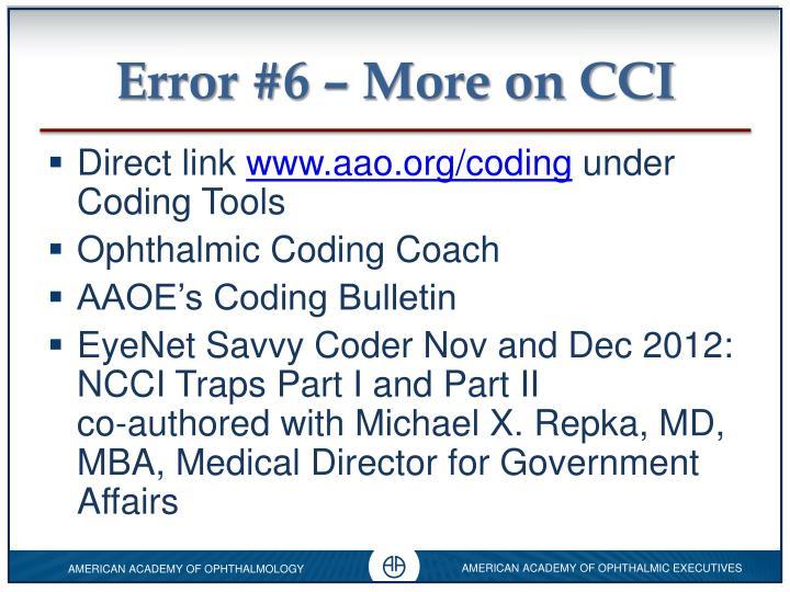 Error #6 – More on CCI