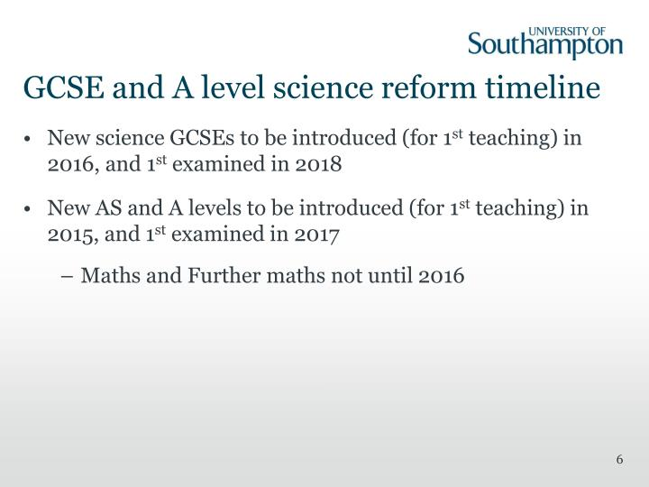GCSE and A level science reform timeline