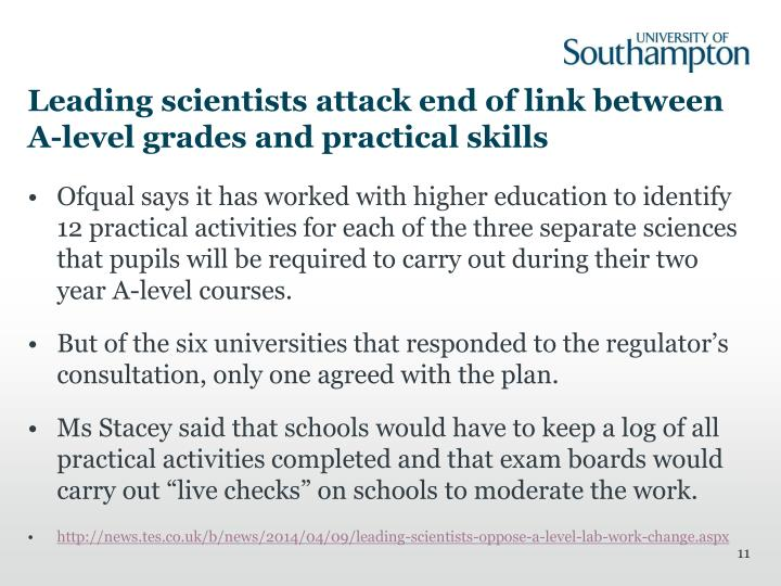Leading scientists attack end of link between A-level grades and practical skills