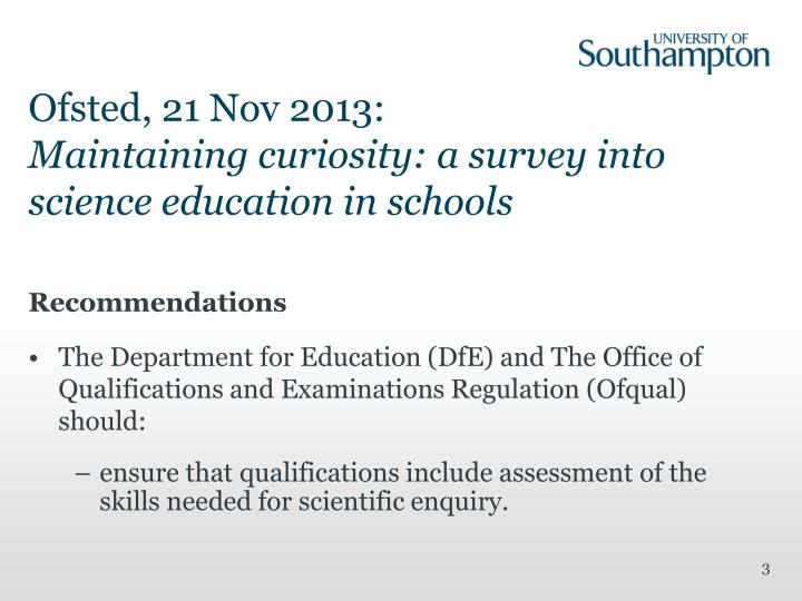 Ofsted 21 nov 2013 maintaining curiosity a survey into science education in schools