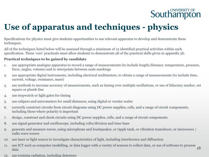 Use of apparatus and techniques - physics