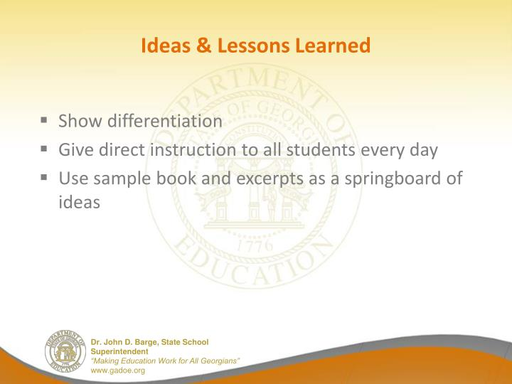 Ideas & Lessons