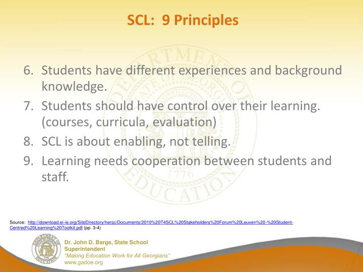 SCL:  9 Principles