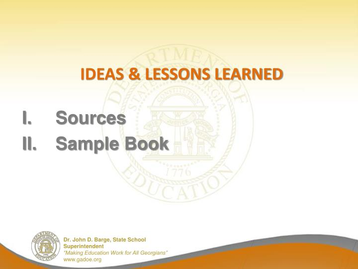 Ideas & Lessons learned