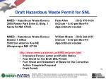 draft hazardous waste permit for snl1