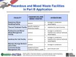 hazardous and mixed waste facilities in part b application