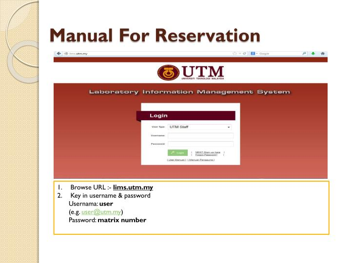Manual for reservation