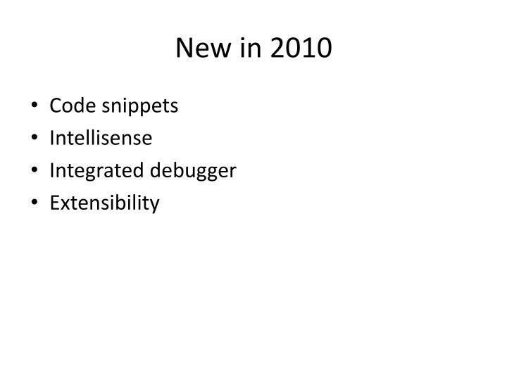 New in 2010