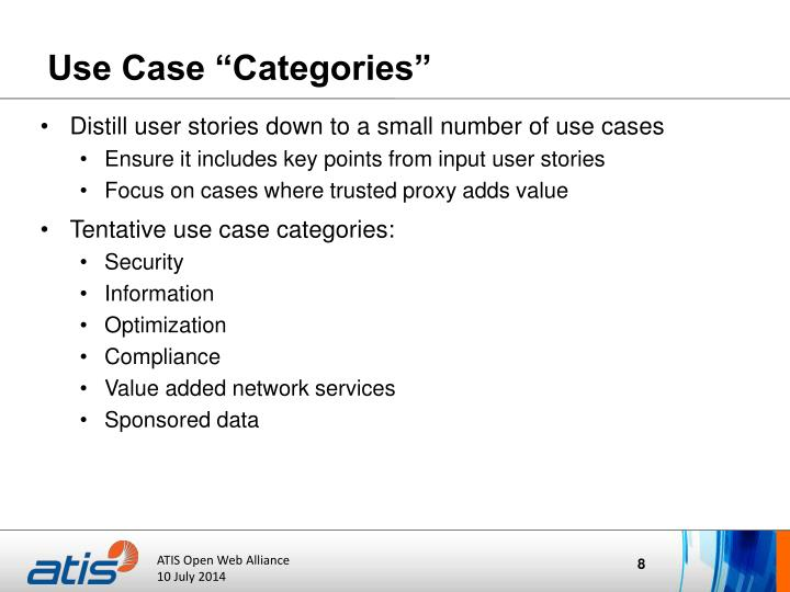 "Use Case ""Categories"""