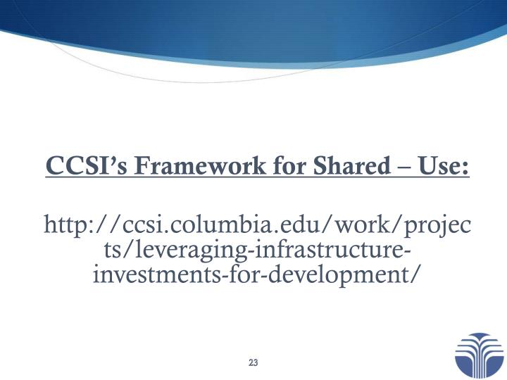 CCSI's Framework for Shared – Use: