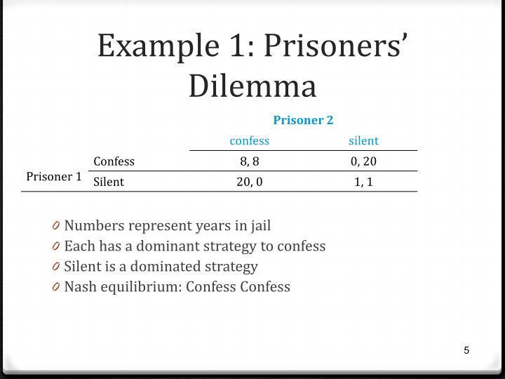 Example 1: Prisoners' Dilemma