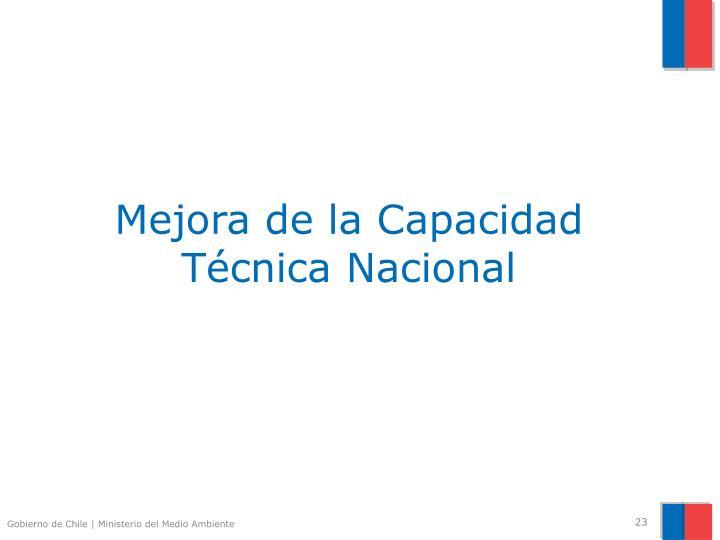 Mejora de la Capacidad Técnica Nacional