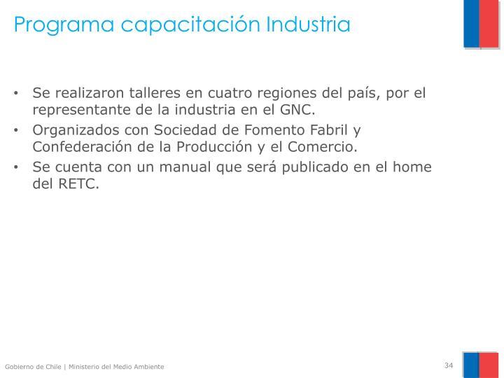 Programa capacitación Industria