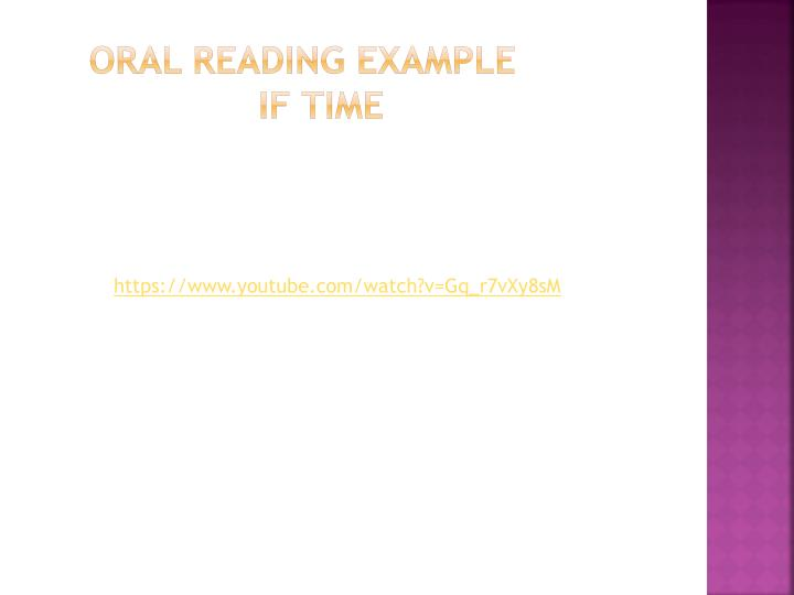 Oral Reading Example