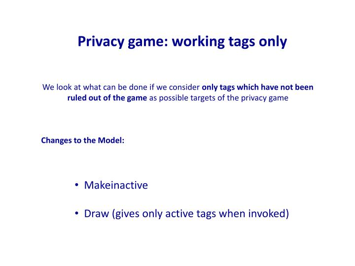 Privacy game: