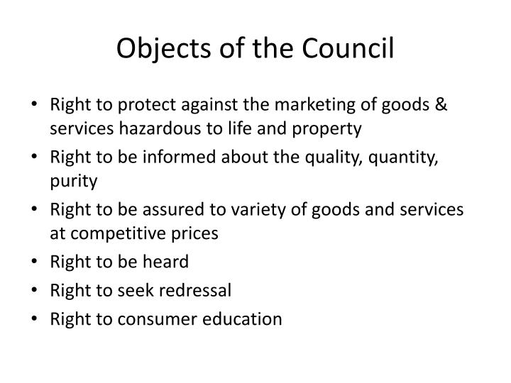 Objects of the Council
