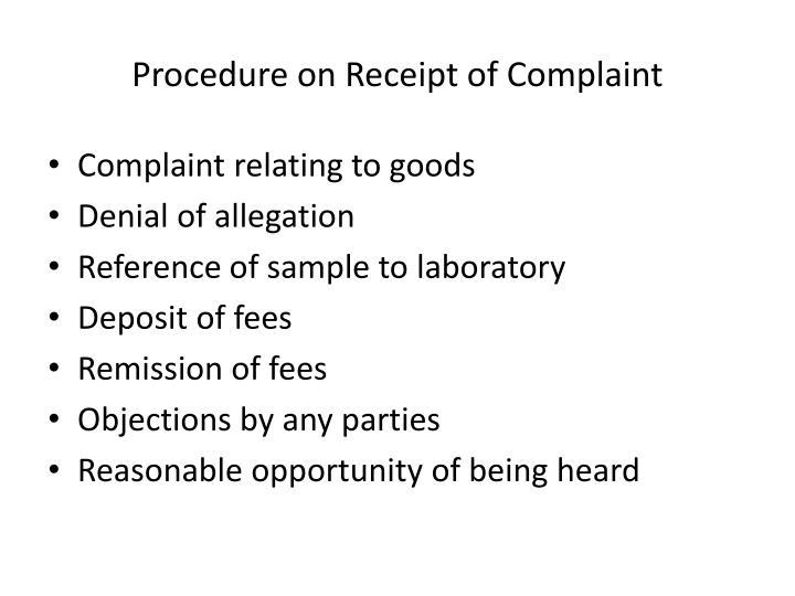 Procedure on Receipt of Complaint
