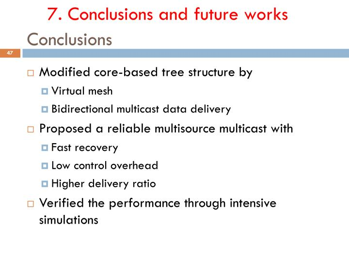 7. Conclusions and future works