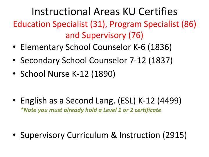 Instructional Areas KU Certifies