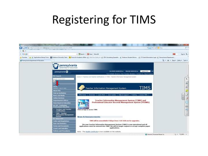 Registering for tims
