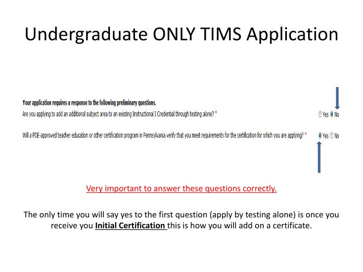 Undergraduate ONLY TIMS