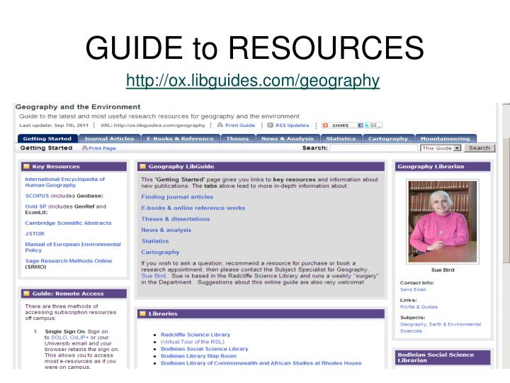 GUIDE to RESOURCES