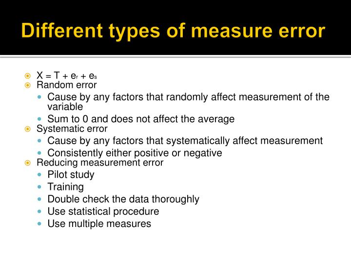 Different types of measure error