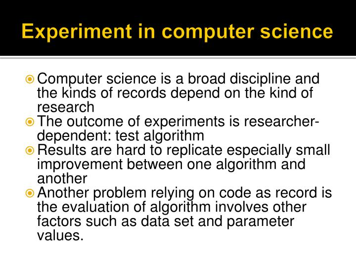 Experiment in computer science