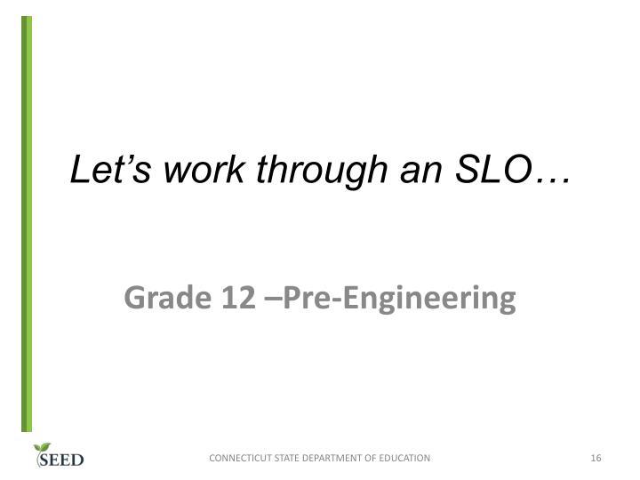 Let's work through an SLO…