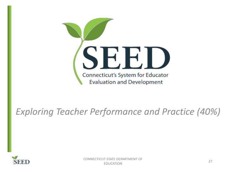 Exploring Teacher Performance and Practice (40%)