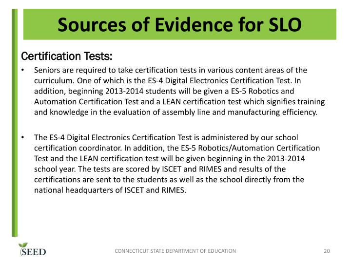 Sources of Evidence for SLO