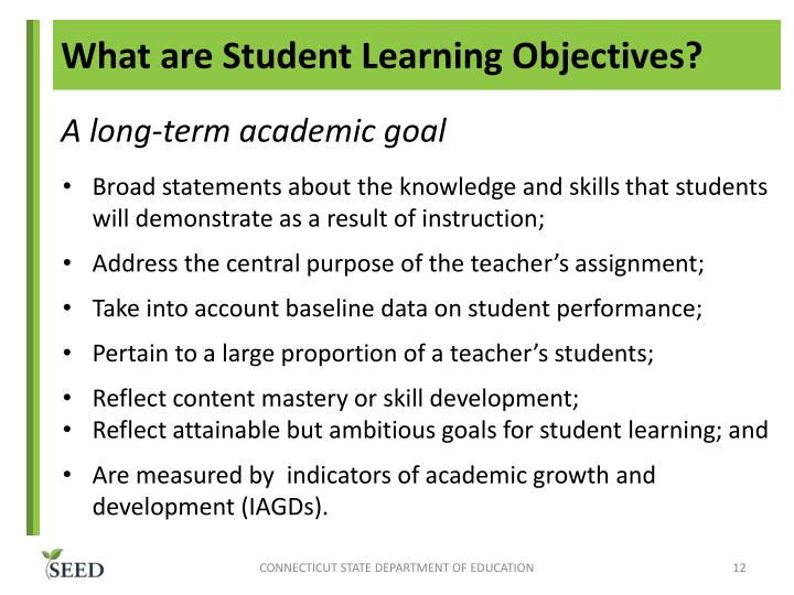 What are Student Learning Objectives?