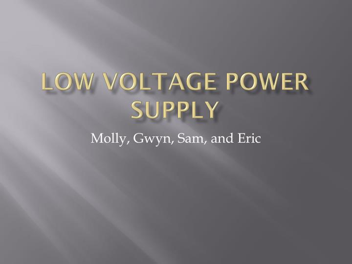 low voltage power supply n.