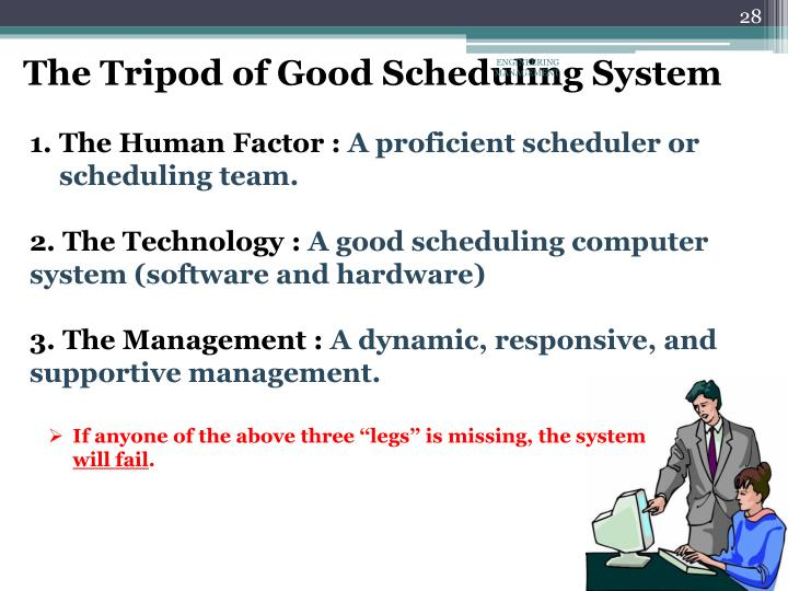 The Tripod of Good Scheduling System