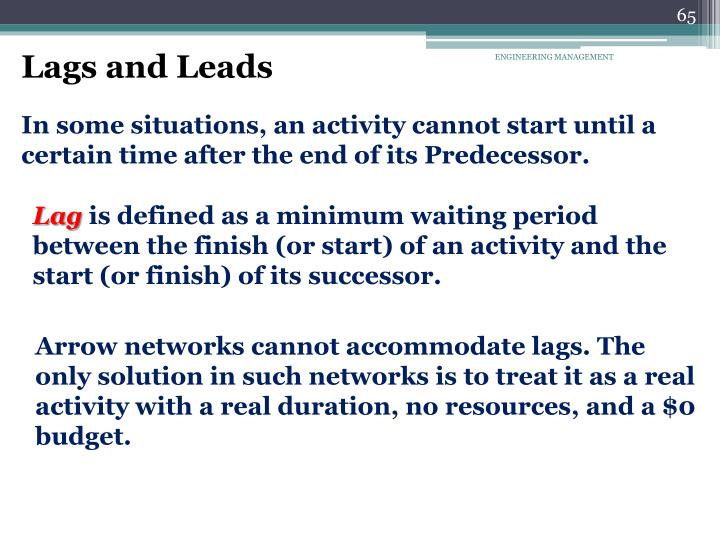 Lags and Leads