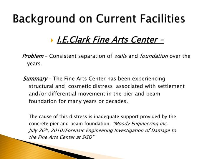 Background on current facilities