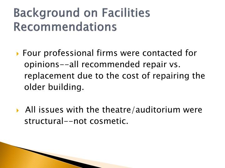 Background on Facilities