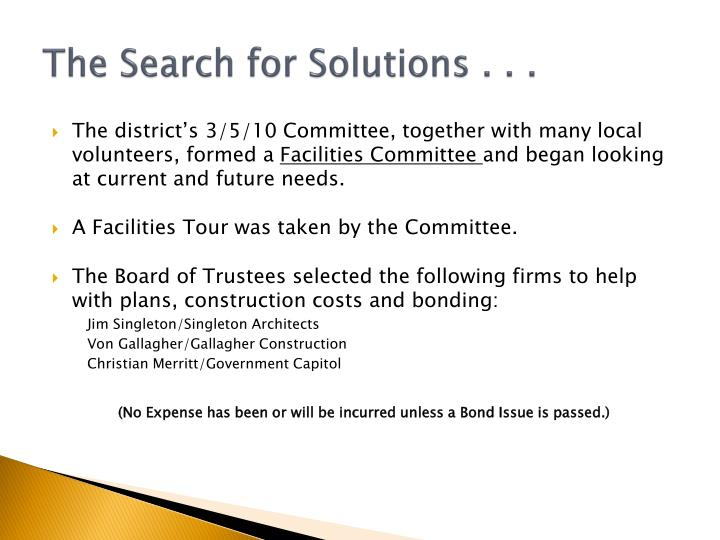 The Search for Solutions . . .