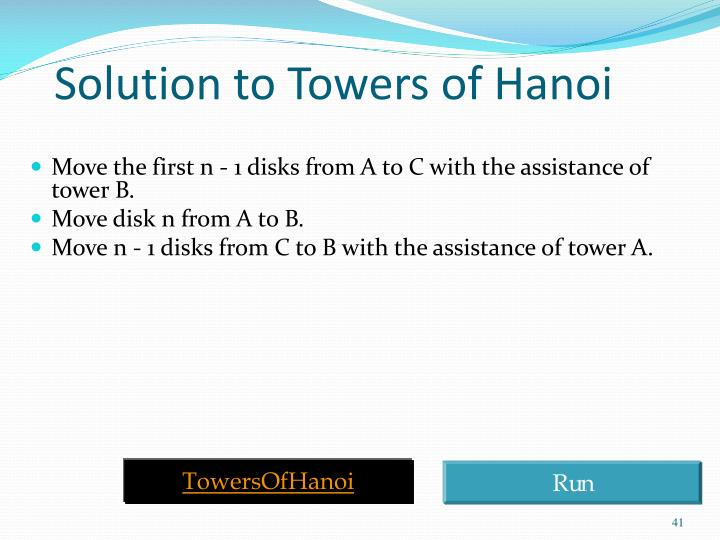 Solution to Towers of Hanoi