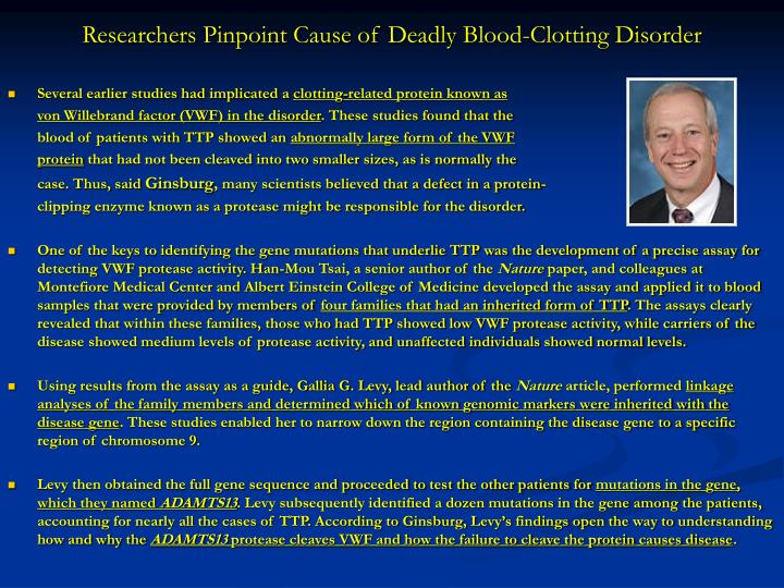Researchers Pinpoint Cause of Deadly Blood-Clotting Disorder