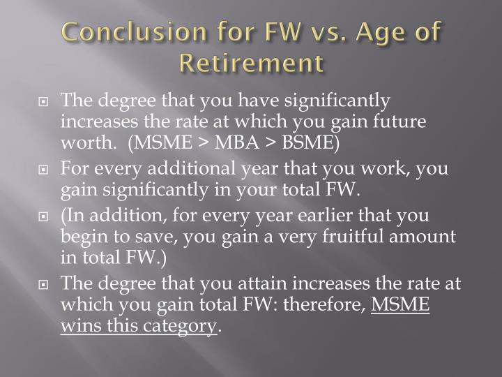 Conclusion for FW vs. Age of Retirement