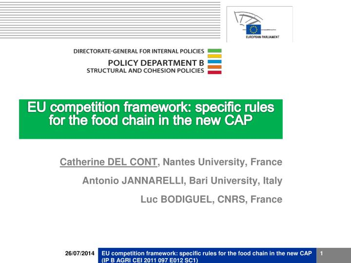 eu competition framework specific rules for the food chain in the new cap n.