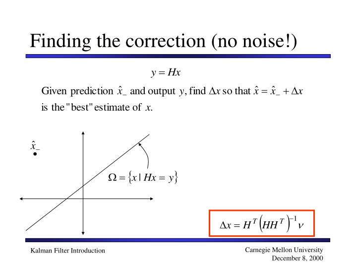 Finding the correction (no noise!)