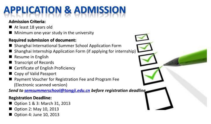 Application & admission