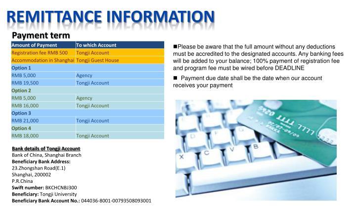 Remittance information