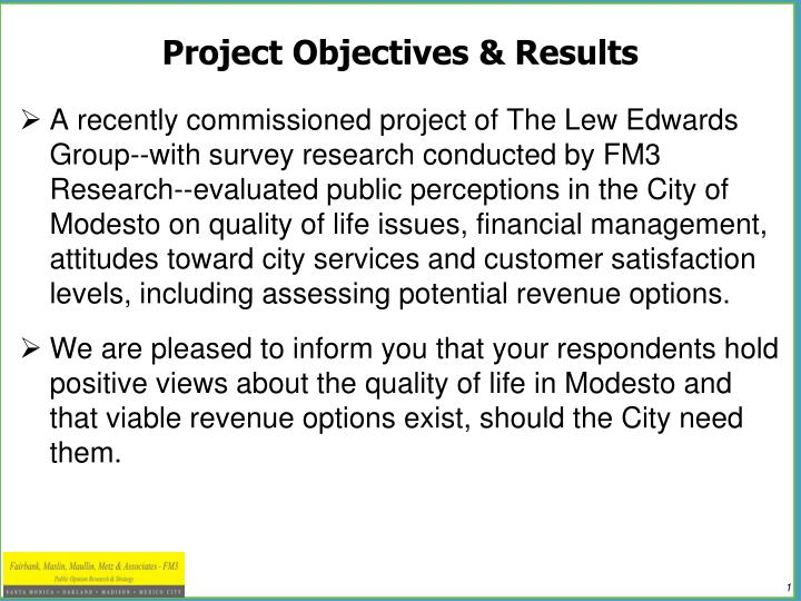 Project objectives results