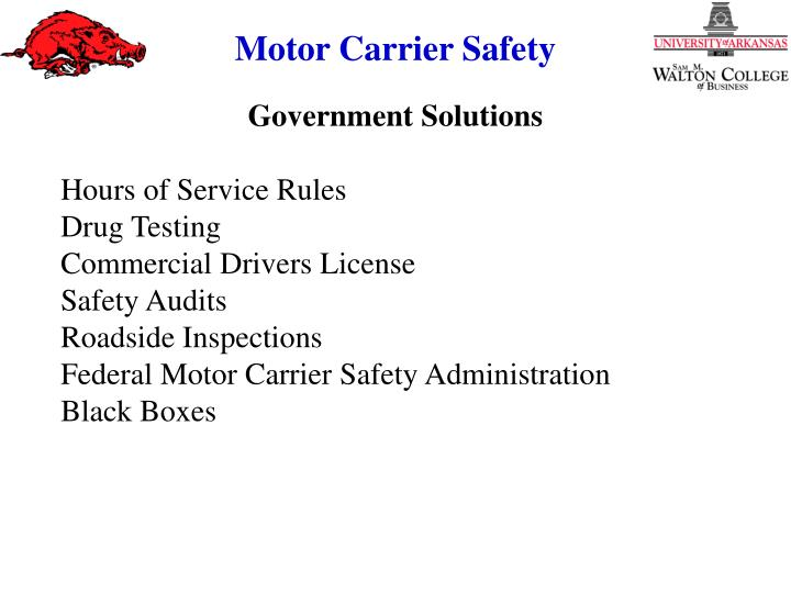Ppt the highway safety problem safety in the motor for Motor carrier safety administration