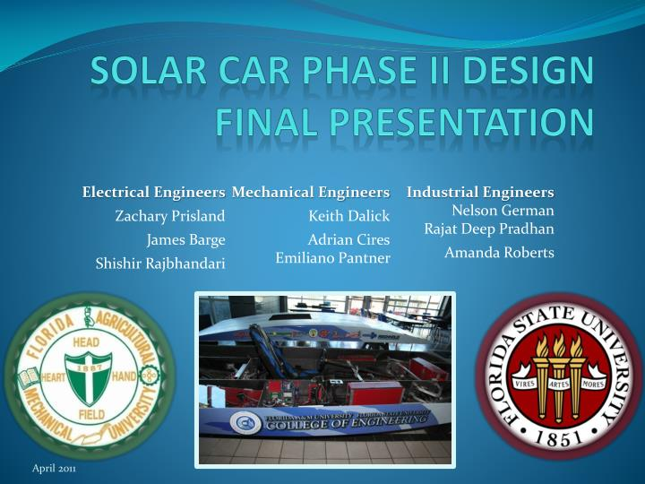 solar car phase ii design final presentation n.