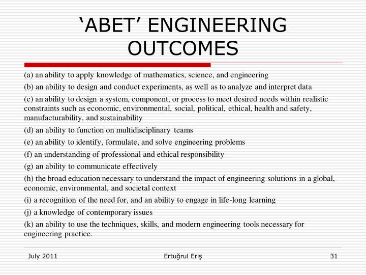 'ABET' ENGINEERING OUTCOMES